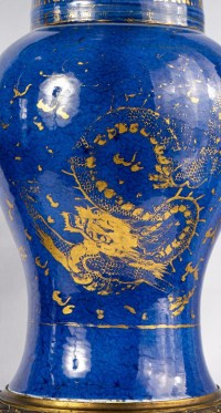 Paire de vases Queue de Phénix (Yen-Yen) en bleu poudré, période Kangxi