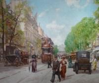 Leon ZEYTLINE Ecole Russe 20è siècle Paris Tramway, calèches et automobiles sur le Boulevard de Strasbourg Huile signée