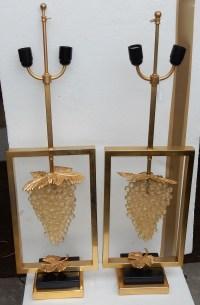 1970' Paire de Lampes a la Grappe de Raisin