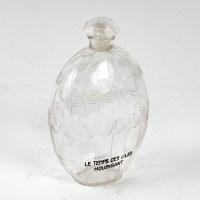 """Flacon """"Le Temps des Lilas"""" verre blanc de René LALIQUE pour HOUBIGANT"""