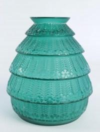 """René lalique Vase """"Ferrière"""" teinté Vert"""