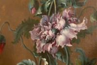 Paravent à 7 feuilles en toile peinte, style Rocaille. Début XIX ème.