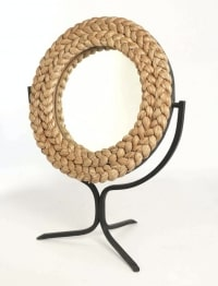 Miroir en corde et fer forgé Adrien Audoux et Frida Minet 1950.