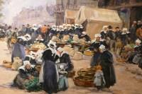 Legout Gerard Ecole Française Peinture Bretonne XIXè Marché à Concarneau Huile Toile Signée