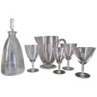 """Lalique France, Suite de verres """"Guebwiller""""  37 Pieces, 1 broc, 1 Carafe"""