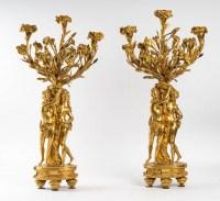 Paire de candélabres aux femmes en bronze doré et ciselé, fin XIXème