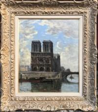 FRANK BOGGS Ecole Américaine Paris Notre Dame et La Seine Huile sur toile signée