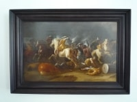 Choc de cavalerie par Jan Jacobsz Van Der Stoff. Ecole hollandaise XVIIème.