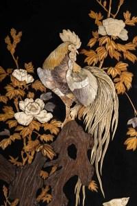 Coq japonais en acre, os et ivoire, fin XIXème