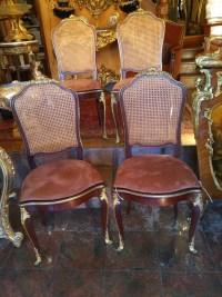 Suite De 4 Chaise Acajou Et Bronze Dorés