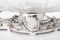 CHRISTOFLE (C.C. 1863) Jardinière en bronze argenté et sa coupe en cristal