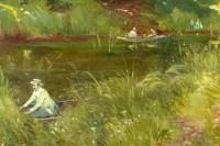 Huile sur Toile, La promenade au bord de l'eau, Adrien Jacques Sauzay