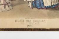 Gravure du 19e siècle sous verre représentant le musée des familles
