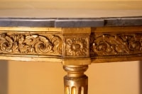 Console demi-lune d'époque Louis XVI en bois doré