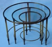1950/70 Série de Tables Gigognes Rondes Maison Ramsay de Style en Laiton