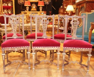 6 Chaises de style Louis XIV vers 1880 par Damont and Co|||||||