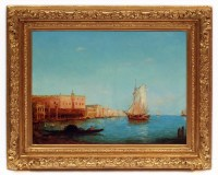 Alfred August Felix Bachman Venice The Lagoon, Painting 19th Century Circa 1890