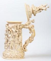 Chope en ivoire : Fête dionysiaque, XIXème