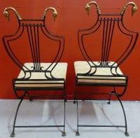 Paire de chaises Art Déco en bronze dossier lyre