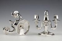 Orfèvre GUSTAVE KELLER - Paire de candélabres en argent massif époque ART DECO 1930