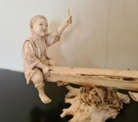Okimono Ivoire Japon Epoque Meiji 19eme - Deux Enfants jouants Sur Une Balançoire