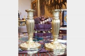 Paire de flambeaux en bronze doré époque Louis Philippe