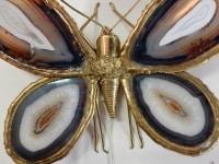 1970′ Applique Papillon Duval Brasseur Ou Isabelle Faure Avec Ailes En Agates Bleues 43 X H 37 CM