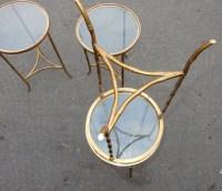 1970' Suite de 4  de Bouts de Canapé Modéle Bambou Laiton Doré Maison Bagués