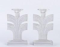Paire de Bougeoirs « Tokyo » verre blanc de René LALIQUE