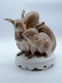 Paire d'écureuils en porcelaine de Copenhague - début XXeme