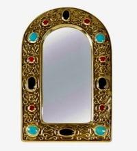 Miroir bijoux en céramique émaillé de Francois Lembo 1960