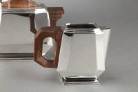 Service à thé 4 pièces argent sur un plateau métal XXe - Epoque ART DECO