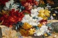 Henri Cauchois (1850 - 1911) : Bouquet d'oeillets sur un entablement.