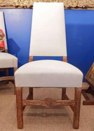 Série de 4 chaises en chêne cérusé, années 40, France, dans le goût d'Adnet