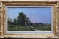 GUILLEMER Ernest Peinture Française XIXème siècle Ecole de Barbizon Troupeau sur le chemin Huile sur panneau signée