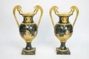 Paire de vases en marbre vert et bronzes
