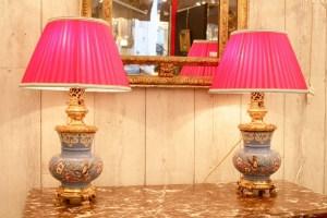 Paire de Lampes en émaux de Longwy du XIXème siècle