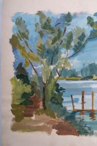 Peinture sur Papier, Paysage Laconique, Lac et campagne, Luez, année 1980.