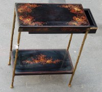 1950/70' Table a Tiroir Bronze Décor Bambou , Plateau Laque de Chine St Maison Bagués 48 X 25 cm