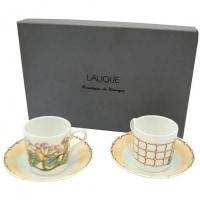 "Lalique, 2 Cups and Saucers ""Perles"" Limoges Porcelain"