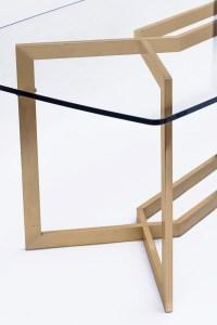 Paul Legeard, Table « Dialogue » acier vernis or et verre, 1970