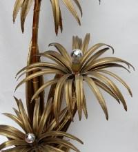 1970' Lampadaire Palmier, en Laiton Maison Jansen 3 Tétes Style Brutaliste