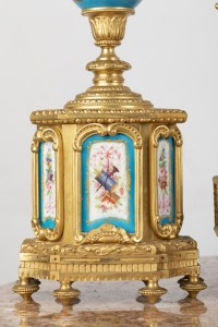 A French 19th Century Louis XVI St. Ormulu and Sèvres Porcelain Garniture.