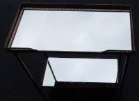1970' Bout de Canapé Rectangulaire Maison Baguès Plateaux Miroirs avec Galeries Ajourées 50,5 x 25,5 cm
