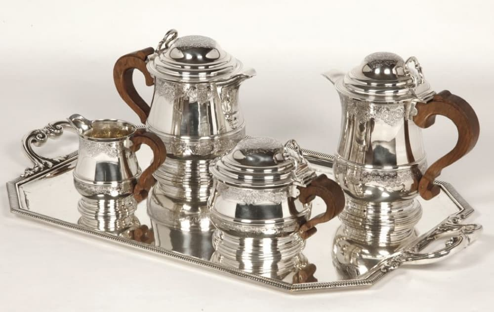 FOUQUET LAPAR - SERVICE THE CAFE 4 PIECES ARGENT PLUS PLATEAU XXÈ||