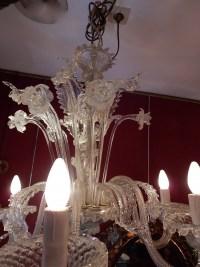 1950' Lustre Cristal Murano  6 Branches, Coupoles a Bord Renversé