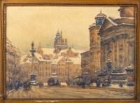 Aquarelle en triptyque représentant la ville de Varsovie sous la neige. Tadeuz Cieslewsky