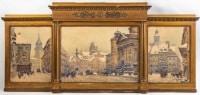 Aquarelle en triptyque représentant la ville de Varsovie. T. CIMPLOWSKY