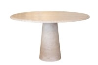 1960s Travertine Round Dining Table, Edited by Roche Bobois, France0