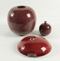 Paul Badié - 3 vases en porcelaine à glaçure rouge de cuivre, vers 1978-80